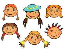 套六张滑稽的女孩面孔 库存图片