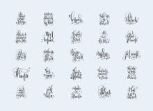 套关于旅行的25手字法题字向巴黎Fran 库存图片
