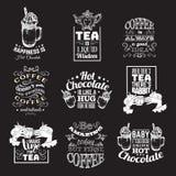 套关于热巧克力茶和咖啡的行情印刷背景 免版税库存照片