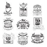 套关于热巧克力茶和咖啡的行情印刷背景 图库摄影