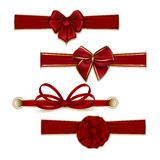 套典雅的丝绸色的弓 免版税库存照片