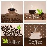 套典雅的咖啡主题的背景 库存例证