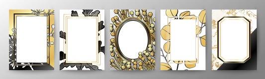 套典雅的小册子,卡片,盖子 黑和金黄大理石纹理 几何的框架 多汁植物的板材-离开仙人掌、仙人掌和柱仙人掌仙人掌 皇族释放例证