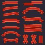 套典雅的葡萄酒横幅丝带模板设置了传染媒介象 免版税库存照片