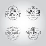 套农夫市场的徽章 库存图片