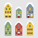 套冬天荷兰人房子的图象 免版税库存图片