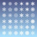 套冬天雪花 圣诞节装饰元素的汇集 皇族释放例证