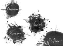 套冬季的名字:2月12月, 1月,用手得出与液体墨水染料,在徒手画的样式 大光栅illu 图库摄影