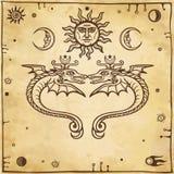 套冶金标志 神秘的蛇保护星球 皇族释放例证