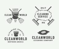 套减速火箭的清洁商标证章,象征和标签 向量例证