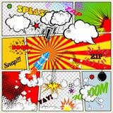 套减速火箭的漫画书传染媒介设计元素、讲话和想法泡影 图库摄影