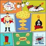 套减速火箭的漫画书传染媒介设计元素 免版税库存照片