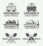 套减速火箭的采矿或建筑商标徽章和标签 向量例证