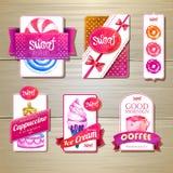 套减速火箭的面包店标签、丝带和卡片设计的 免版税库存图片