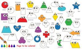 套几何形状动画片 将上色的页 向量例证
