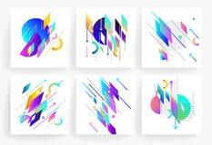 套几何抽象五颜六色的飞行物 库存照片