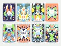 套几何抽象五颜六色的飞行物 免版税库存照片