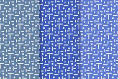 套几何装饰品 蓝色无缝的样式 库存照片