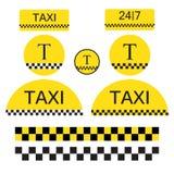 套出租汽车对象和标志 图库摄影