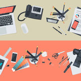 套创造性的工作区和企业工作区的平的设计例证概念 库存照片
