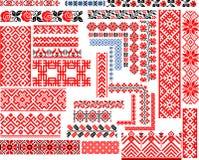 套刺绣针的30个无缝的种族样式 免版税库存图片
