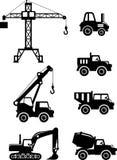 套剪影戏弄重型建筑机器 免版税库存照片