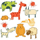 套动物、鸟和昆虫字符 免版税库存图片