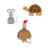套动物-乌龟、鸡和老鼠 免版税库存照片