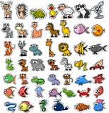 套动画片动物,向量 免版税库存照片