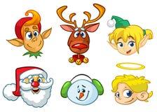 套动画片圣诞节字符 导航圣诞老人、驯鹿、矮子、雪人和天使动画片顶头象  免版税图库摄影