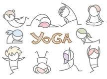 套动画片瑜伽线艺术 免版税库存照片
