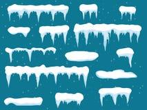 套动画片雪在蓝色背景雪冰柱的设计元素,雪盖帽 斯诺伊元素在冬天 免版税库存图片