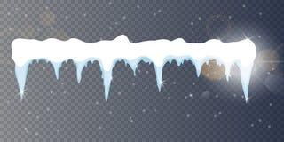套动画片雪在透明背景雪冰柱的设计元素,雪盖帽 斯诺伊元素在冬天 图库摄影