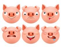 套动画片emoji猪字符象 免版税库存照片