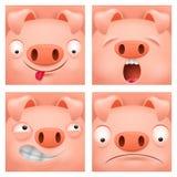 套动画片emoji猪字符象 库存图片