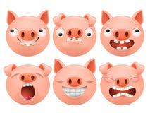 套动画片emoji猪字符象 免版税库存图片
