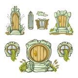 套动画片中世纪门和门从木头 形成多种 在空白背景的孤立 免版税库存图片