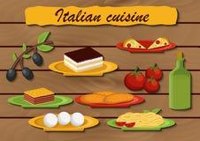 套动画片在意大利食物题材反对 免版税库存图片