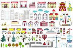 套动画片城市地图元素 也corel凹道例证向量 免版税库存图片