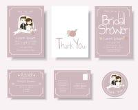 套动画片夫妇婚礼邀请卡片 桃红色概念 免版税库存图片