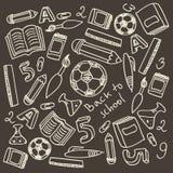 套动画片学校用品 免版税库存照片