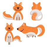 套动画片逗人喜爱的狐狸 库存照片