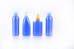 套化妆用品的瓶 免版税图库摄影