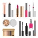 套化妆用品,导航现实例证 免版税库存图片