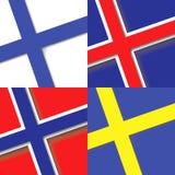 套北欧斯堪的纳维亚国家状态旗子 在正方形的国旗 免版税库存照片