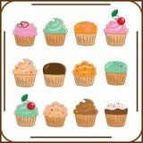套十二个不同蛋糕 库存照片