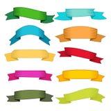 套十副多色丝带和横幅网络设计的 免版税库存图片