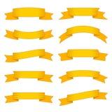 套十副黄色丝带和横幅网络设计的 免版税库存照片
