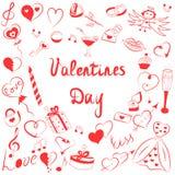 套华伦泰` s天标志 红色心脏,礼物,圆环,气球儿童` s滑稽的乱画图画在心脏形状安排了  免版税库存图片