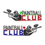 套单色迷彩漆弹运动商标、象征和象 室内和室外迷彩漆弹运动俱乐部元素 有枪的射击人 免版税图库摄影